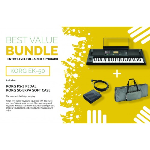KORG EK-50 61-keys Entertainer Keyboard + ACCESSORIES  BEST VALUE BUNDLE