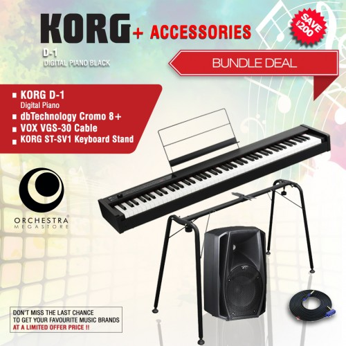 KORG D1 Digital Piano Black + ACCESORIES BUNDLE