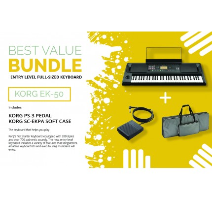 KORG EK50 61-keys Entertainer Keyboard + ACCESSORIES BEST VALUE BUNDLE