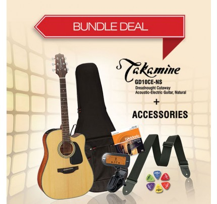 Takamine GD10CE-NS Semi Dreadnought Guitar + Accessories Bundle Deal