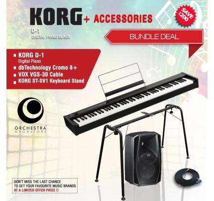 KORG D1 Digital Piano Black + ACCESORIES BUNDLE